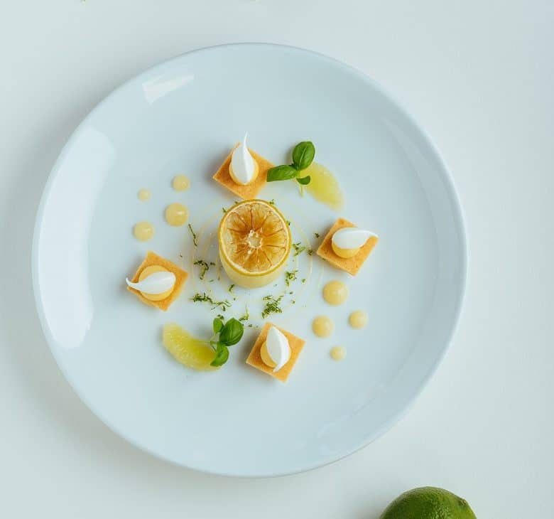 plate with dessert from Chef Guy Savoy. French Chef Guy Savoy. Best starred restaurants in takeaway