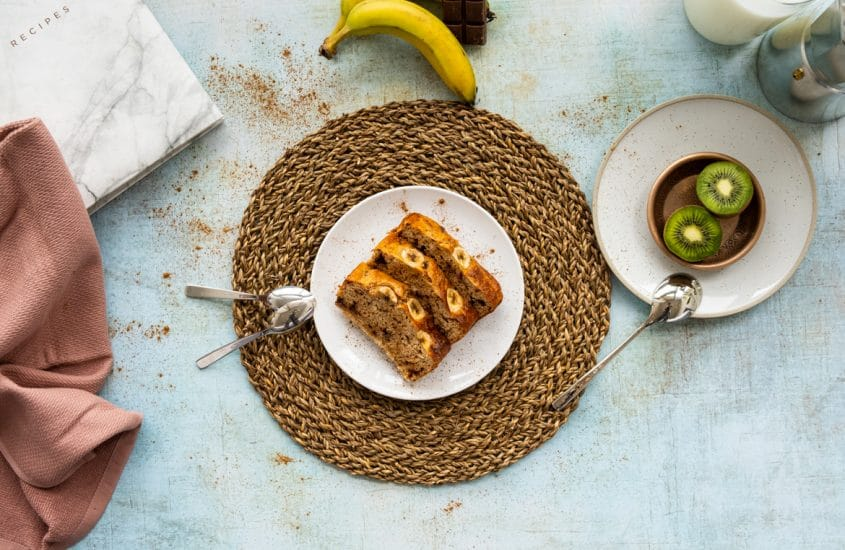 Banana and chocolate fondant recipe on a table, view from the top