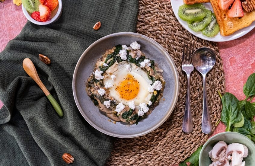 Green Brunch healthy green shakshuka french toatsts