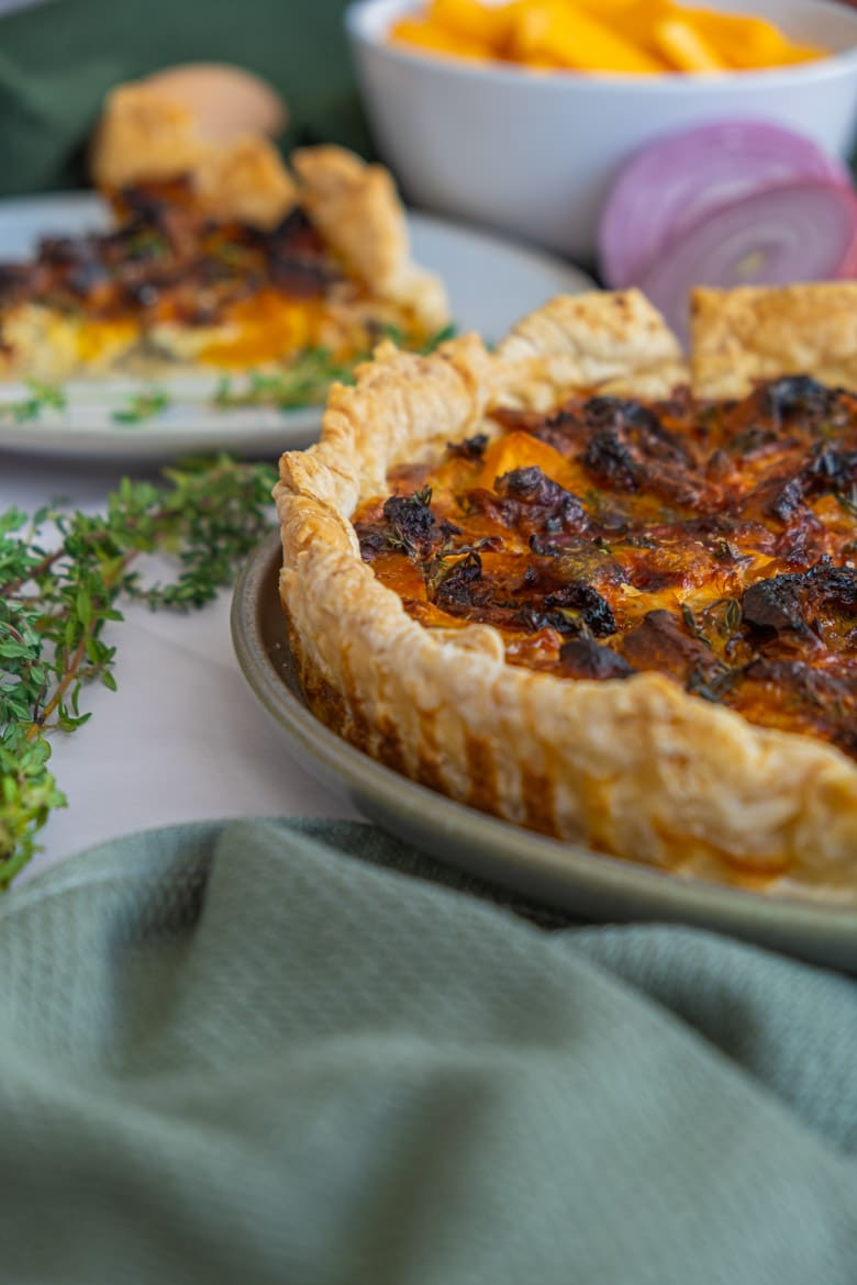 Butternut and goat cheese quiche